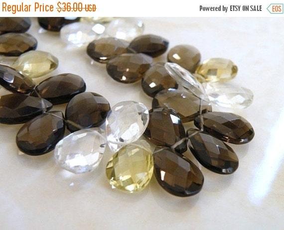 Black Friday Sale Lemon Quartz Gemstone Briolette Teardrop Pear Checkerboard faceted 13 to 14mm 9 beads