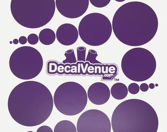 Purple Polka Dot Circles Wall Decals - Various sizes - Mix and Match dots vinyl stickers