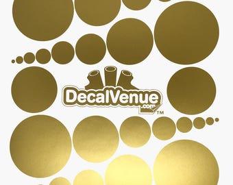 Metallic Gold Polka Dot Circles Wall Decals - Various sizes - Mix and Match dots vinyl stickers