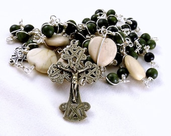 Irish Rosary Beads Celtic Dark Green Connemara Marble White Ulster Marble Hearts Sterling Silver White Bronze Wire Wrapped Unbreakable