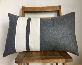 Antique white and charcoal grey soft wool lumbar pillow cover/ modern