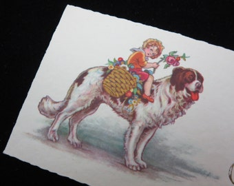 1920s Christmas Card - Joyeux Noel, French, Small, Child on Dog with Flowers