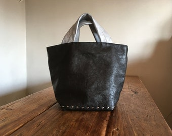 Hand Stitched Simple Leather Studs Tote Bag - Black x Silver -