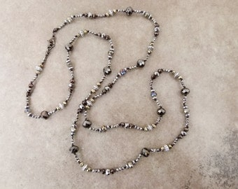 Sparkly Hand Knotted Bead Necklace - Long Layering Necklace Mixed Metallic Colors - Item 1589