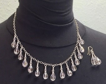 On Sale Swarovski Clear Crystal Wedding Necklace and Earrings Victorian Style