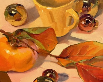 """Art painting still life christmas ornament and persimmon """"Flaming Leaves"""" by Sarah Sedwick 10x10"""""""