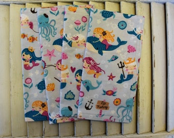 "Set of 4 9"" Flannel Cloth Napkins, Wipes, Un Paper Napkins Mermaid Print"