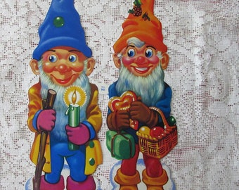 England Vintage Christmas Gnomes Elves Lithographed Die Cut Paper Scraps 961 Out Of Print