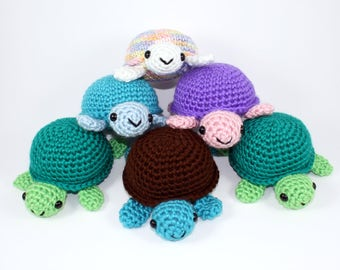 Custom Turtle Amigurumi Crochet Plushie - Choose Your Own Big Turtle, Any Color - MADE TO ORDER