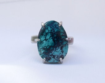 Chrysocolla ring, Turquoise ring, natural stone ring, teal stone ring, blue stone ring, ring size 11