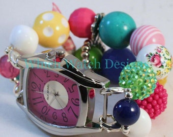Shabby Chic Garden Party.. Chunky Pink, Green, Yellow, and Turquoise Floral Acrylic Interchangeable Beaded Watch Band