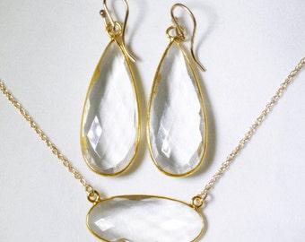 Clear Quartz 2-pc SET Necklace Earrings Adjustable 14k Gold Genuine Quartz Earrings Quartz Necklace April Birthstone BZ-SET-152.2-ClQtz/g