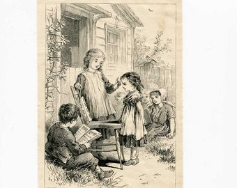Antique 1880 Era Playing School, Children Playing School  Small Print, lIllustration, Engraved Print for Framing, By Teaching We Learn