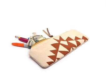 pencil case • geometric zipper pouch • orange - geometric triangle print - hand screenprinted pencil case - travel bag - make up bag