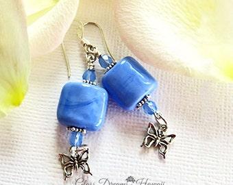 Periwinkle Glass Earrings, Hawaii Lampwork Glass Earrings, Handmade Lampwork Jewelry, Sterling Silver Butterfly Charm, Fashion Jewelry