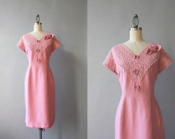 Vintage 1960s Dress / 60s Pink Silk Rose Dress / Vintage 60s xl Lace Trimmed Party Dress