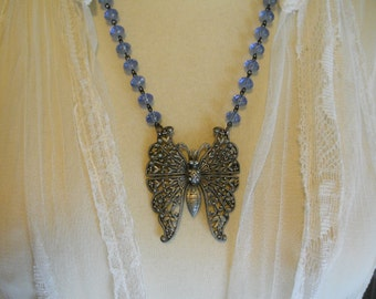 Necklace Large Silver Butterfly on Blue Glass Beaded Chain Filigree Metal One of a Kind Jewelry Statement Necklace Woodland Fairytale