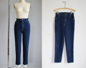 1980s high waisted dark blue denim skinny stretch jeans cigarette crop / s - 25w