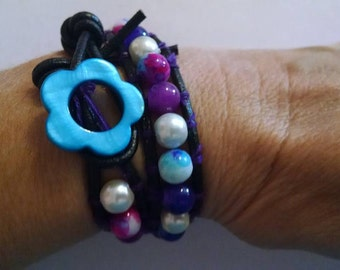 Sale Chic Leather Wrap Bracelet with Purple, Blue and White Glass Beads and Pearls Flower Button Closure Friend Gift 15 inches Wedding Girl