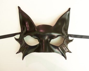 Little Kitty Black Cat Leather Mask costume Mardi Gras masquerade Smaller Adult Size