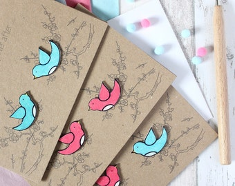 Engagement Card. Wedding Card. Anniversary Card. Valentines. Happily Ever After. Love Birds. Valentines Day. Valentines Card. Handmade Card.