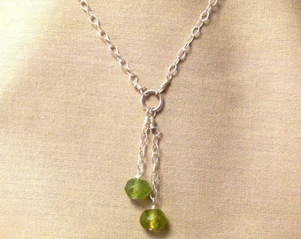 Peridot silver necklace - green necklace - birthstone necklace - august birthstone - lime green necklace - minimalist green necklace