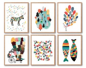 Kids Room decor, Animal wall art, Zebra, Giraffes, Peacock, Fish , Flower Vendor Print, Lovely Town print, Baby Nursery decor, Kids Gift