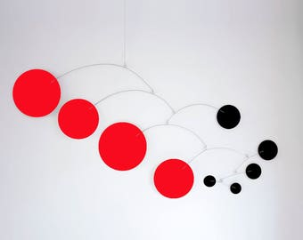 MOD MOBILE in Black & Red 3 SIZES Available - Groovy Retro Mid Century Calder Inspired Hanging Modern Art - Home Decor Mobiles
