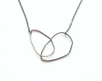 Interlocking Ring Necklace Asymmetrical Loop Necklace Sterling Silver Necklace Oxidized Necklace Teardrop Shape Necklace Two Tone Necklace