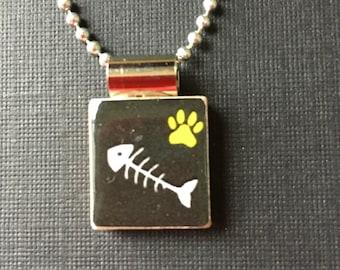 Cat Lover's Jewelry, Handmade Cat Jewelry, cat necklace, cat pendant, scrabble tile jewelry, animal jewelry, cat jewelry, cat lover's gift