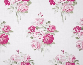 Slipper Roses White Color Background ~ By the yard ~ Tanya Whelan Sleeper Roses Collection for Free Spirit Fabrics Collection Cotton