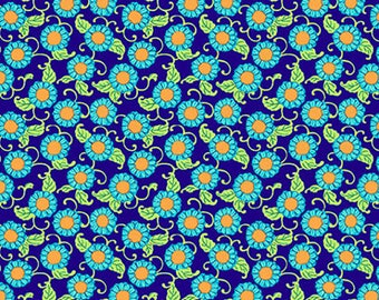 Amy Butler Lark Button Flowers PWAB077 Navy By The Yard