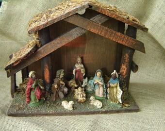 Vintage Nativity Creche Made In Italy Christmas Nativity Holiday Decor 1950s