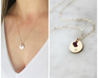 Initial Charm Necklace w/ Birthstone, Personalized Necklace, Birthstone Necklace, Mothers Necklace, Gift for Wife, Personalized Jewelry