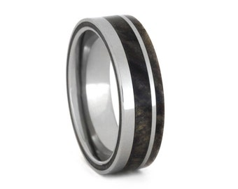 Wood Wedding Band for Men, Titanium Ring with Buckeye Burl Wood, Wooden Ring for Men, Mens Wedding Band with Wood