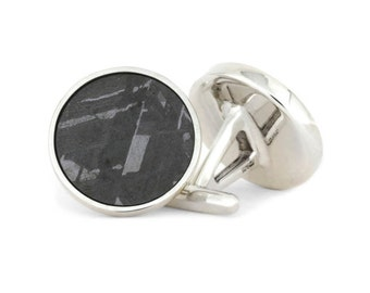 Meteorite Cuff Links made with Sterling Silver Links, Personalized Meteorite Wedding Accessories