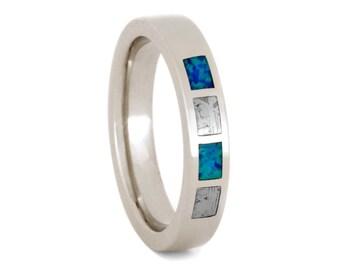 Meteorite Wedding Band, Opal Wedding Ring or 14k White Gold Alternative Engagement Ring