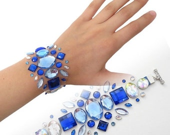 CYBER WEEK SALE Blue Illusion Rhinestone Bracelet, Floating Rhinestone Bracelet, Blue Rhinestone Bridal Jewelry, Illusion Jewelry, Bridesmai