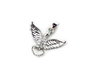 Small Silver-tone Rhinestone Dove Wings Spread Pendant