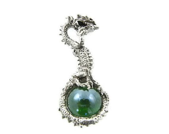One Pewter Dragon and Tail Pendant