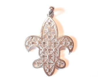 Lattice Fleur de Lis Pendant with Rhinestone Accents Bright Silver-tone