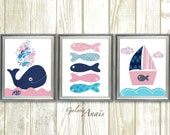 Navy Blue and Pink Nautical nursery art Nursery decor whale nursery bathroom art Baby girl Nursery Boat fish ocean sea - Set of 3 prints
