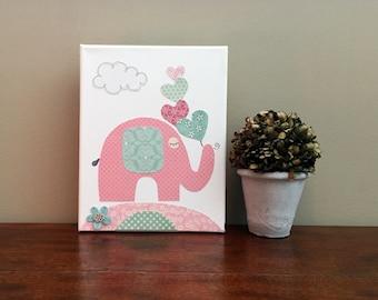 Elephant Nursery Canvas Art Kids room Decor Girl Nursery Decor Canvas Wall Art - Canvas 8x10 in
