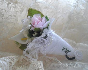 Petite Brooch Bridal Keepsake Clip Clutch Brooch Sash Bouquet Nosegay Whimsical Pin Cushion Petite Tussie Mussie Designed by HandcraftUSA