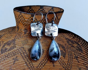 Fossil-like Stamped Sterling Silver & Dendritic Opal Dangle Earrings . Rustic Boho Southwest Style Jewelry