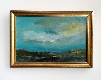 Yellow Cloud- Framed- Small Painting - Original Painting- 6 x 9  inch - Beach Study Painting - Peaceful- Collectible - Fine Art