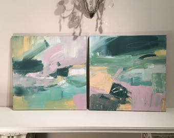 Abstract Diptych Painting-  Original Painting- 20 x 40 painted 3/4 inch edge - Ready to Hang Pink Green White Olive Cream