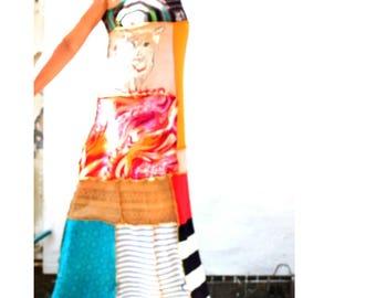 Handmade, Upcycled Clothing, Patchwork Dress, Funky , Kitty Dress, Boho, Gypsy, Wearable Art Maxi Dress, ResplendentRags, SunDance, Festival