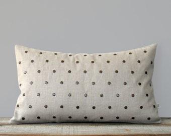 Studded Pillow Cover in Natural Linen 12x20 | Polka Dot Pattern | by JillianReneDecor | Geometric Pillow | Home Decor | Antique Brass Studs