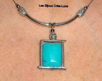 Turquoise necklace, boho jewelry, modern necklace, silver link necklace, blue necklace, bohemian necklace pendant, turquoise jewelry